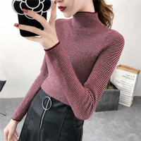 2018 New Fashion Women Knitted Tops Female Casual Striped Pullovers Long Sleeve Turtleneck Sweaters Female Knitting Tops Sweater