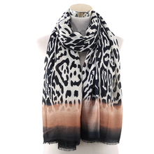 Winfox Fashion Animal Print Scarves Stole For Ladies Women Black White Scarf Leopard Female Long Soft  Shawls Foulard
