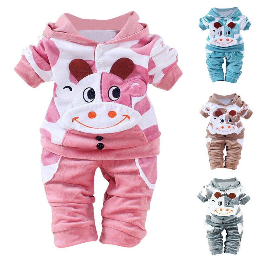 2018 Clothing Set Hooded Sport Newborn Baby Girls Boys Cartoon Cow Warm Outfits Clothes Velvet Hooded Tops Set Dropshipping 0111