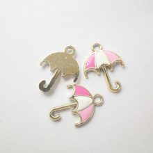 20pcs/lot  Zinc Alloy oil drip Umbrella Shape Charm 25*18.5mm Bracelet Necklace Pendant Making