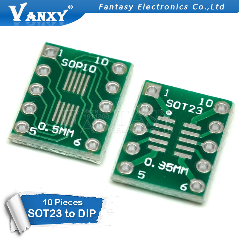 10PCS SOT23 MSOP10 UMAX To DIP10 PCB Transfer Board DIP Pin Board Pitch Adapter