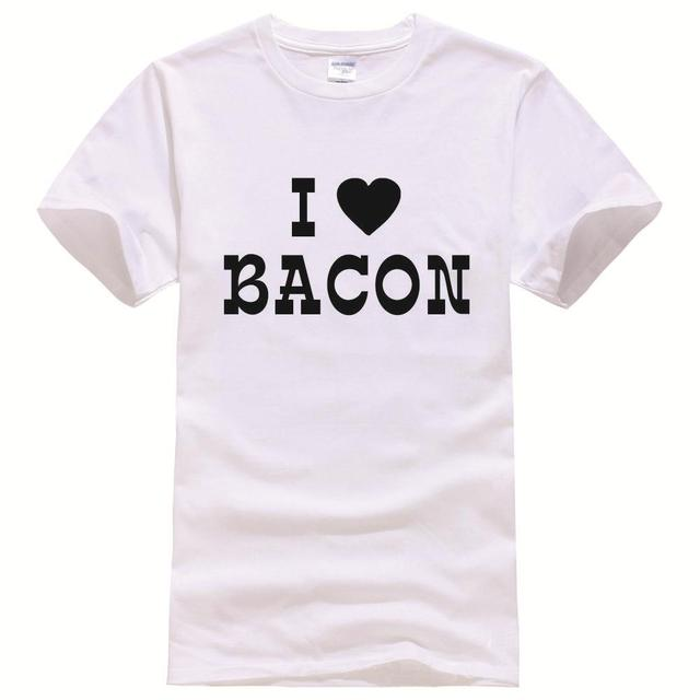 04f896b50d1 Husband gift I Love Bacon Printed Tee Shirt Unisex Fashion Women Men Short  Sleeve Cool Funny Shirt More Size And Colors