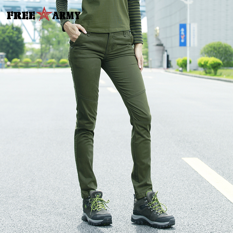 Freearmy Brand Bottoms   Pants   &   Capris   Women Twill Cotton 98% + 2% Spandex Trousers Plus Size Casual Full Length Joggers Women
