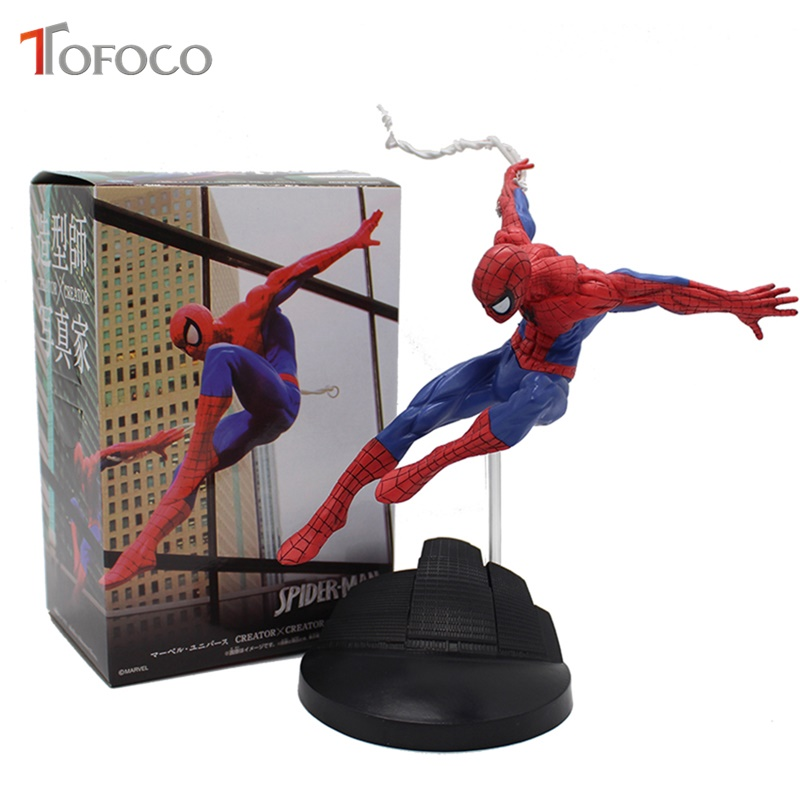 TOFOCO 18cm PVC Spiderman Action Figure Toy Hero Spider Man Figurine Model Anime Movie Figure Collection Toy For Boys In Box electronic breast enhancer and massager