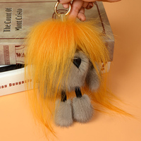 Creative new mink hair crazy small monster bag pendant cute car key chain plush fur ornaments