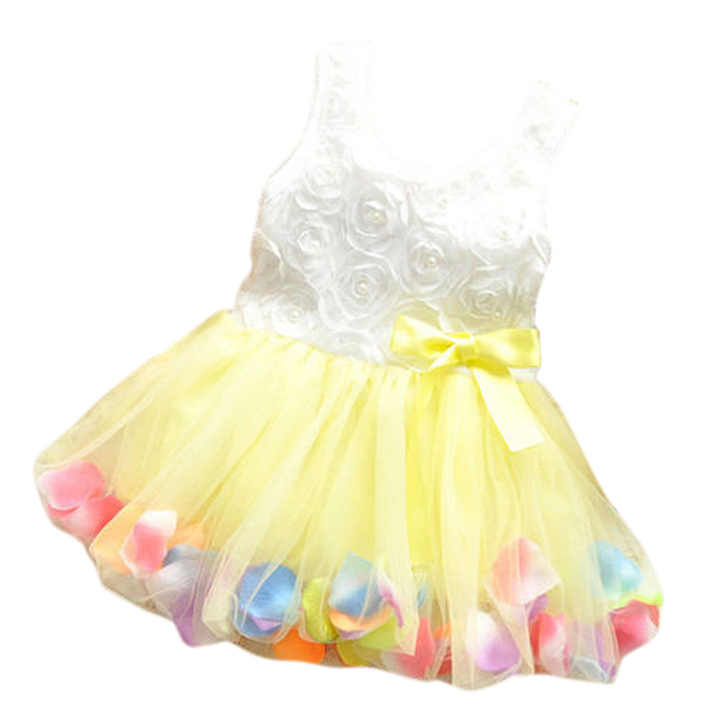 ABWE Best Sale Baby Girl Toddler Occasion Party Wedding Birthday Flower Summer Kids Dress Yellow 120 abwe 4x a