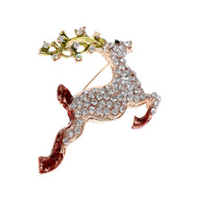 цена на Girls Women High Quality Metal Brooches Fashion Enamel Hat/Bell/Gloves/Elk Crystal Rhinestone Brooch Pins Christmas Jewelry Gift