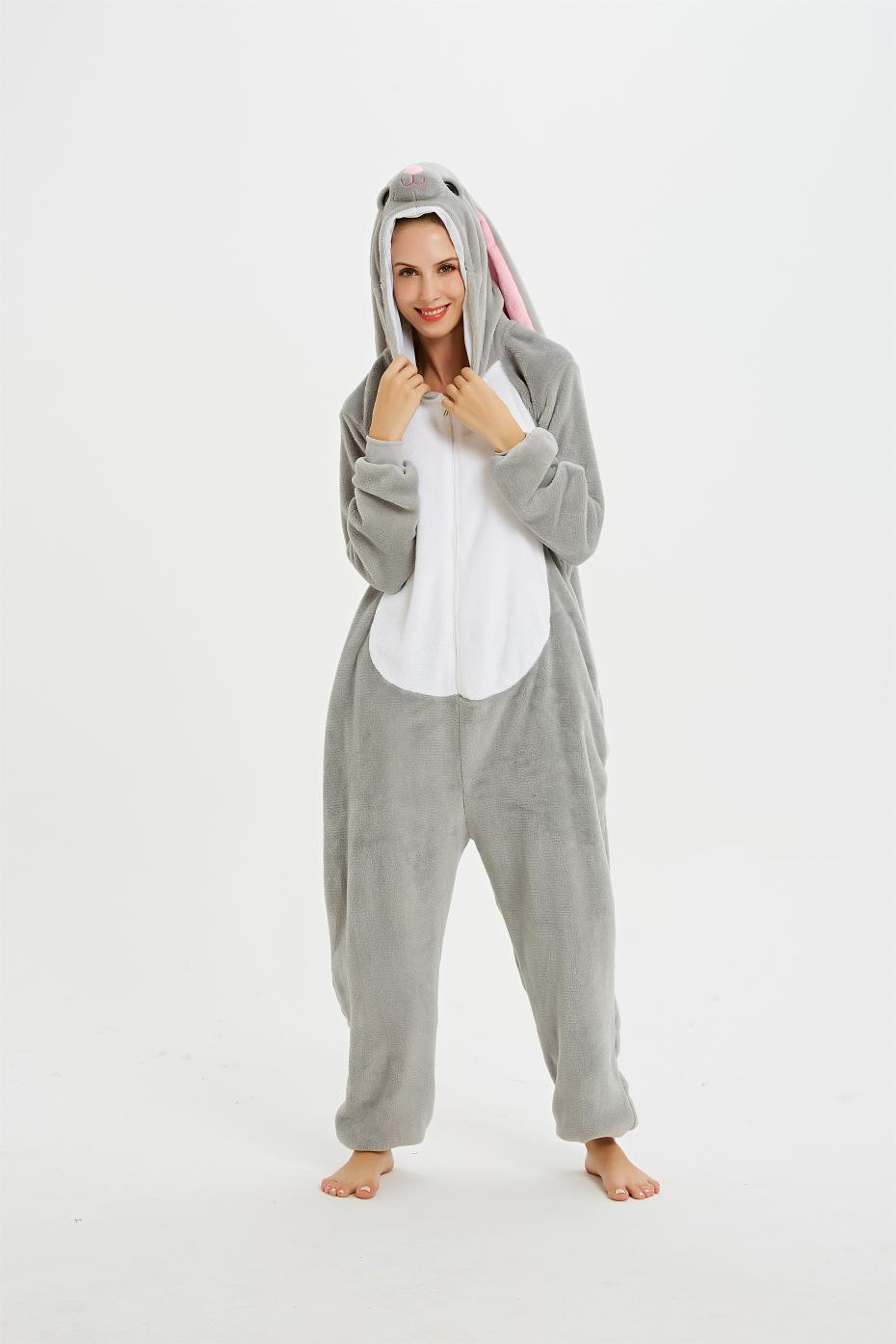 Image 5 - Adult Animal Pajamas Long Sleeve Sleepwear kigurumi All in One Pyjama Animal Suits Rabbit Garments Women Animal Cartoon Onesies-in Pajama Sets from Underwear & Sleepwears