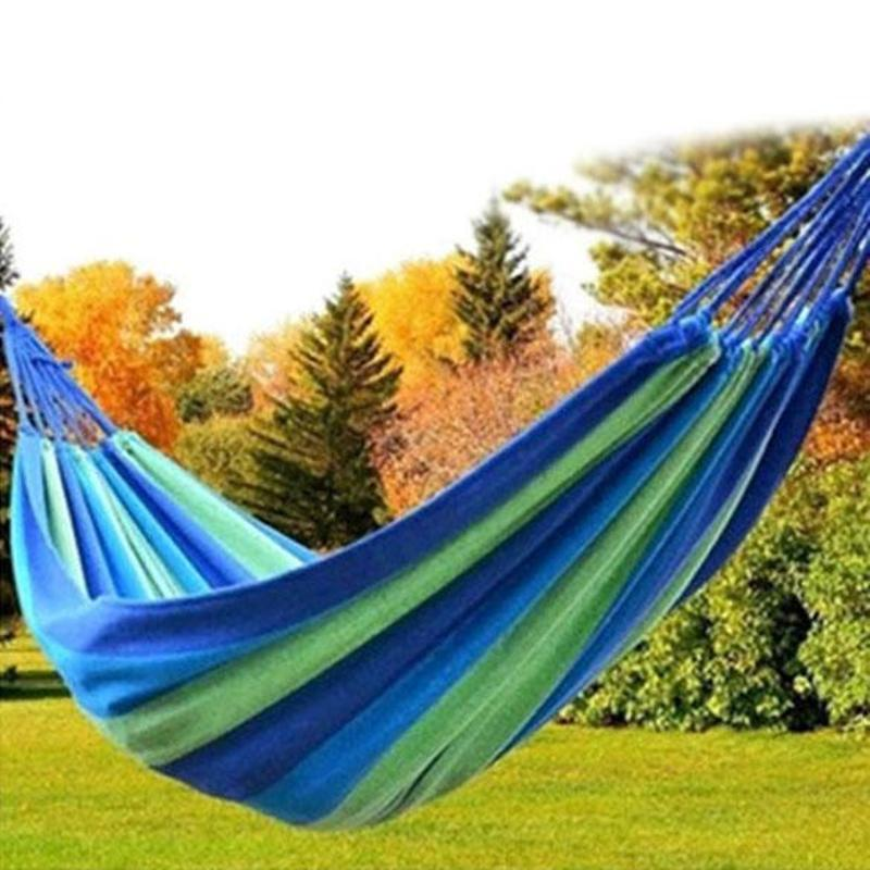 Portable Strong Outdoor Picnic Garden Hammock Hang Bed Travel Camping Swing Canvas Stripe Furniture Hammock Easy To Carry