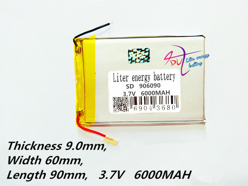 906090 3.7V 6000MAH lithium polymer lipo battery rechargeable li ion cell for E-Book GPS PSP DVD Power bank Tablet PC906090 3.7V 6000MAH lithium polymer lipo battery rechargeable li ion cell for E-Book GPS PSP DVD Power bank Tablet PC
