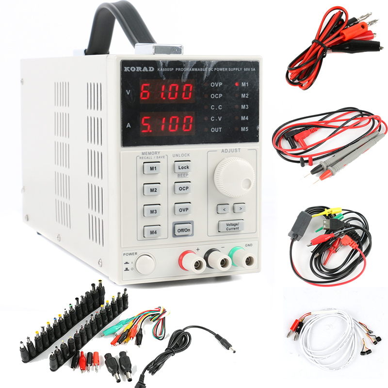 KORAD KA6005P Adjustable Digital Linear Programmable DC Power Supply 60V 5A 0.01V 0.001A USB RS232 Connect Compute + DC JACK Set cps 6011 60v 11a digital adjustable dc power supply laboratory power supply cps6011