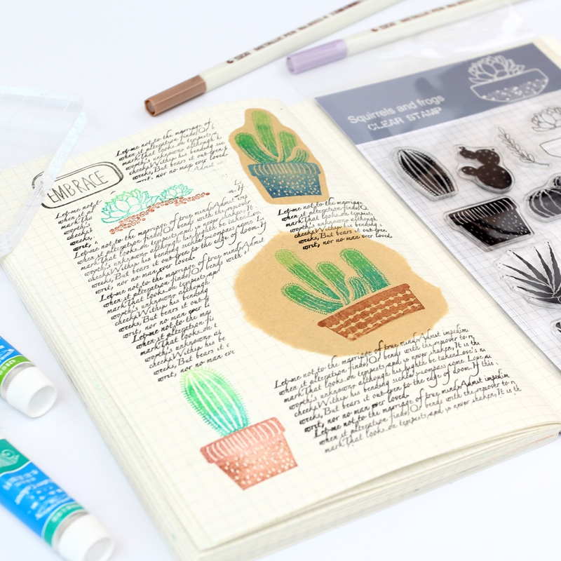 Cactus Transparent Silicone Stamp Seal Cute Animal Clear Stamp for Scrapbooking DIY Photo Album Diary Book Decorative Stamp New new arrival lovely toy designsilicone transparent clear stamp seal for diy scrapbooking photo album stamp craft ll 319