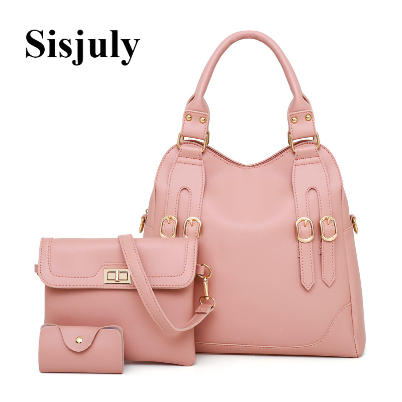 516004a7e3ea 3pcs Set Causal Leather Women Composite Bags Drop Shipping Buckle Fashion  Designer Solid Totes Lady Crossbody
