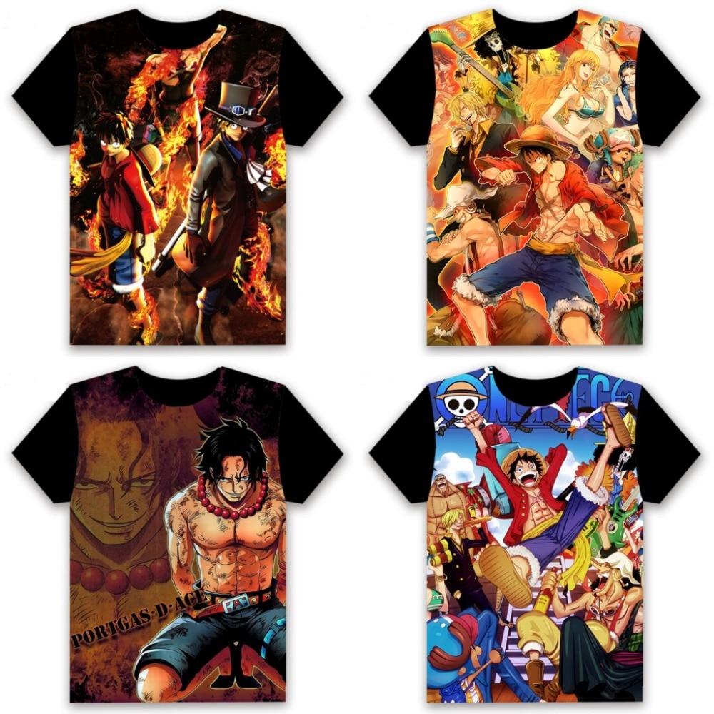 Anime T-shirt One Piece Monkey D. Luffy Roronoa Zoro Nami Cosplay Short Sleeve Women Men Black Tee Casual Summer Shirt