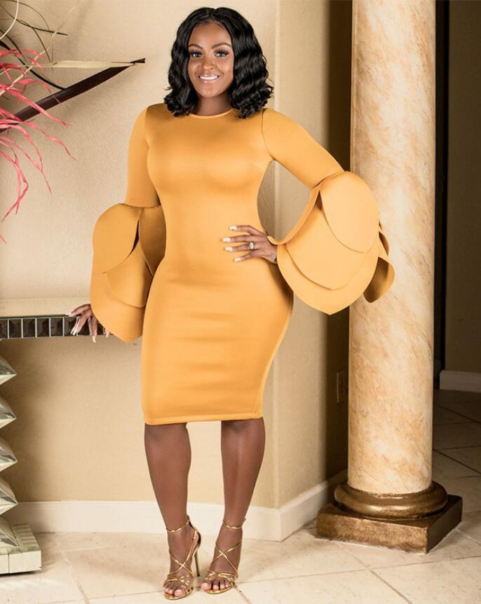 Элегантное женское однотонное платье с длинным рукавом и круглым вырезом 2018 осенне зимнее желтое Сексуальное Женское платье миди вечернее
