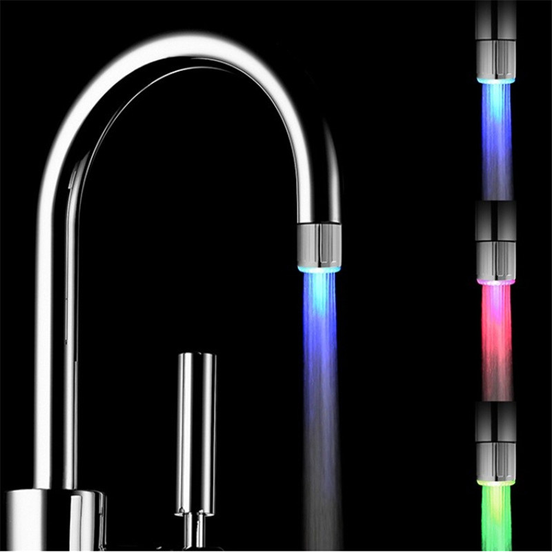 Температура датчик 3 вида цветов кран светодиодные Нажмите Light (аэратор для кран) с блистерная упаковка с адаптером