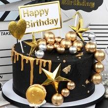 5 шт./лот Прекрасный Золотой шар Топпер для торта кружка ко дню рождения украшение торта детский душ Детский День Рождения Вечеринка Свадьба принадлежности