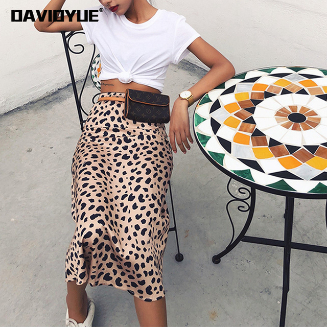 8bd5a7154f Leopard print skirt women A-Line high waist skirt wild things sexy long  skirts Fall Winter 2018