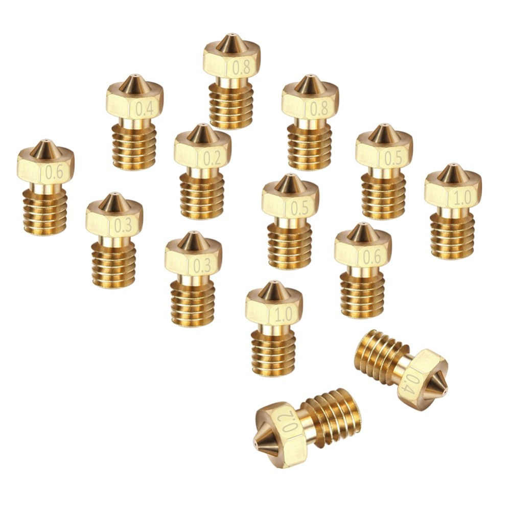 Buse V5/V6 pour imprimantes 3D 0.2/0.3/0.4/0.5/0.6/0.8/1.0/1.75mm cuivre mm Filament M6 laiton fileté pour imprimantes 3D