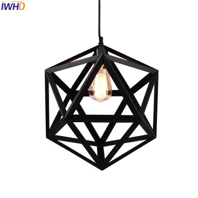IWHD American Style Antique Pendant Lamp Loft Industrial Vintage Lamp Retro Black diamond Pendant Lights For restaurant Lamparas loft style vintage pendant lamp iron industrial retro pendant lamps restaurant bar counter hanging chandeliers cafe room