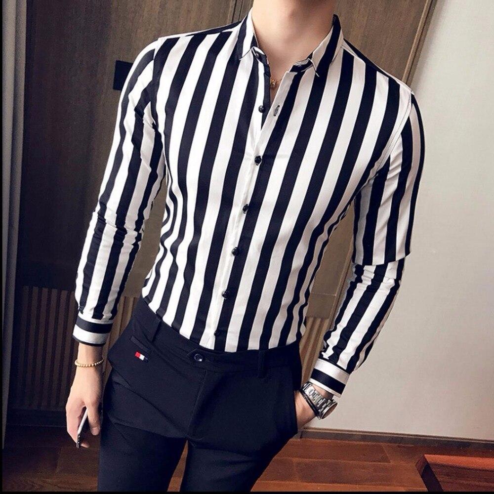 M-3xl hommes chauds vêtements nouveau à manches longues chemise mâle mince beau chemise jeunesse discothèque Bar chanteur personnalité rayé chemises