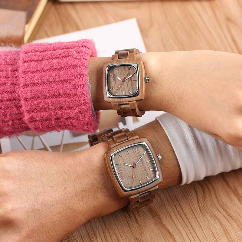 Full Wooden Watches For Men Clock Male Bamboo Chic Quartz Ladies Retro Walnut Wooden Bracelet Present A Great Gift For Men Women(China)