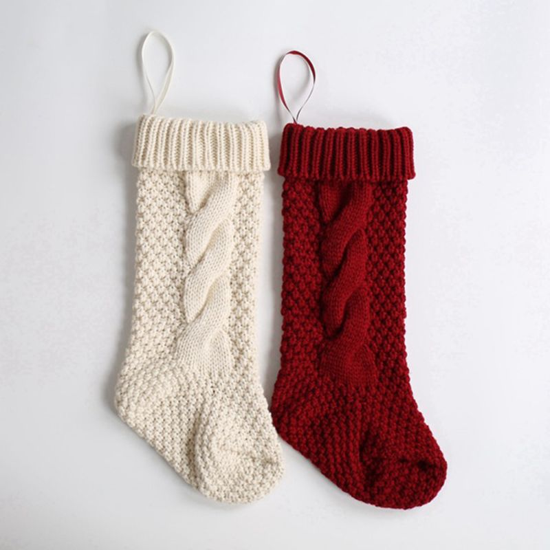 1Pc 46cm Christmas Stockings Hanging Pendant Tree Decoration Ornament Thickened Braided Knitted Cuffed Socks Gift Candy Bag Hold