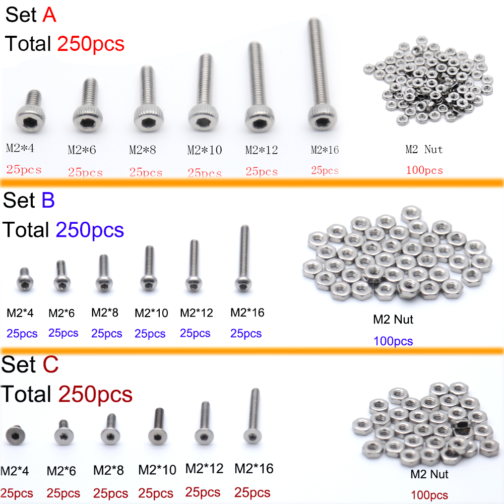 250pcs M2(2mm) A2 Stainless Steel Allen Bolts With Hex Nuts Screws Assortment 420pcs m3 m4 m5 alloy steel grade12 9 high tensile socket cap screws with nuts allen bolts din912 assortment kit no h991
