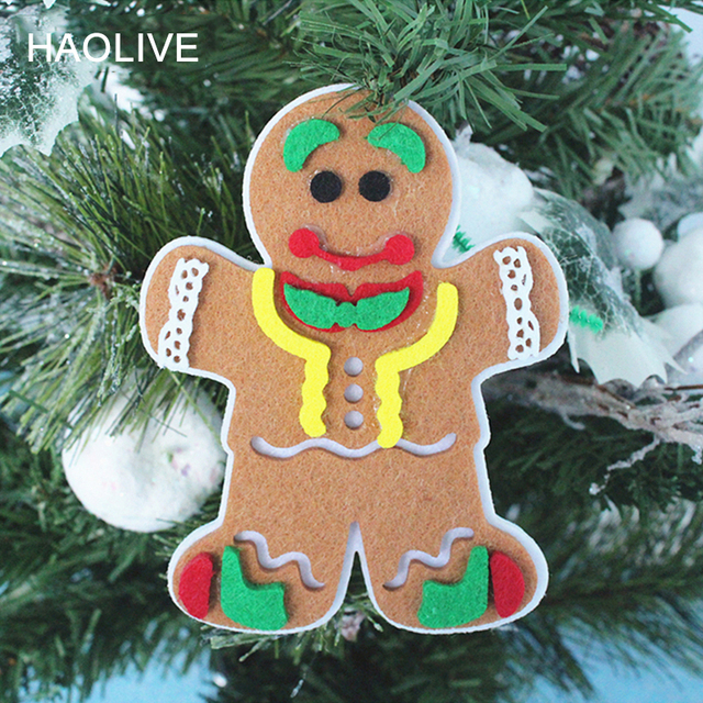 haolive christmas hanging ornaments gingerbread man cloth party decoration for party diy christmas decor christmas tree