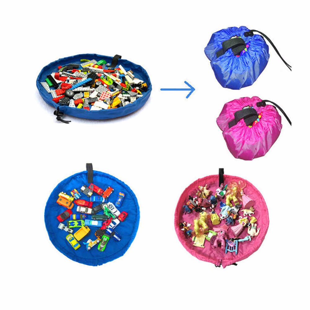 Useful 150cm Kids Baby Play Mat Large Storage Bags Toys Organizer Blanket Rug Boxes Storage Bags