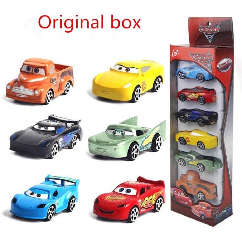 6pcs/set Disney Pixar Cars 3 Toys Lightning McQueen Jackson Storm Mater 1:55 Diecast Plastic Car Model Boys Gifts