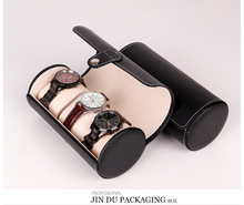 KZfashion PU leather 3-position cylinder watch box high-end jewellery storage display packaging high quality