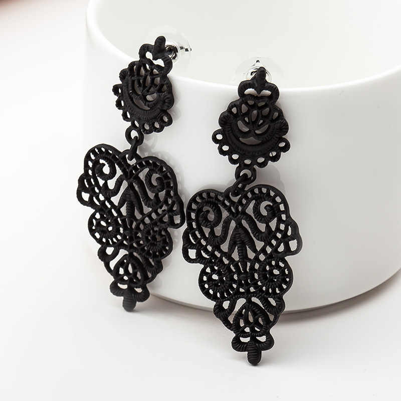 Stud Earrings Bohemian Openwork Pattern Earrings For Women Brincos Earing Silver Gold Black Color Jewelry Pendientes GIFT S134