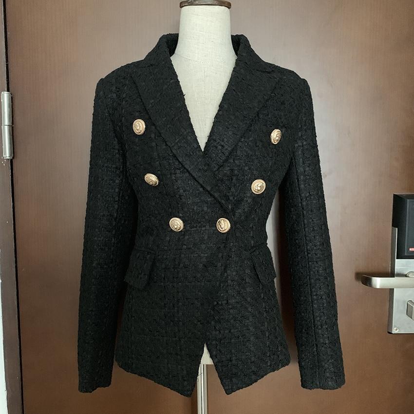 Kadın Giyim'ten Blazerler'de YÜKSEK KALITE Yeni Moda 2019 Tasarımcı Blazer kadın Kruvaze Aslan Düğme Tweed Blazer Ceket'da  Grup 2
