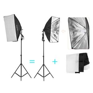 Image 5 - Andoer צילום סטודיו ערכת עם רך מטריית Softbox הנורה בעל אור הנורה מסתובב שקע רקע אור Stand תפאורות