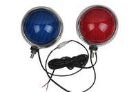Motorcycle Round Front Flashing Lamp LED Red Blue Strobe Lights for 12V Patrol Car Police