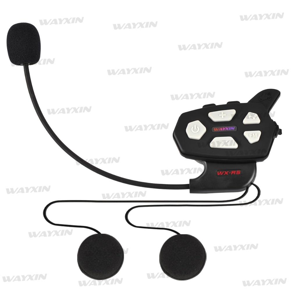 WAYXIN R5 1PCS Motorcycle Bluetooth Intercom 1000M Interphone Built-in FM Radio Large Volume Moto Bluetooth Helmet walkie-talkie 2pcs mini walkie talkie uhf interphone transceiver for kids use two way portable radio handled intercom free shipping