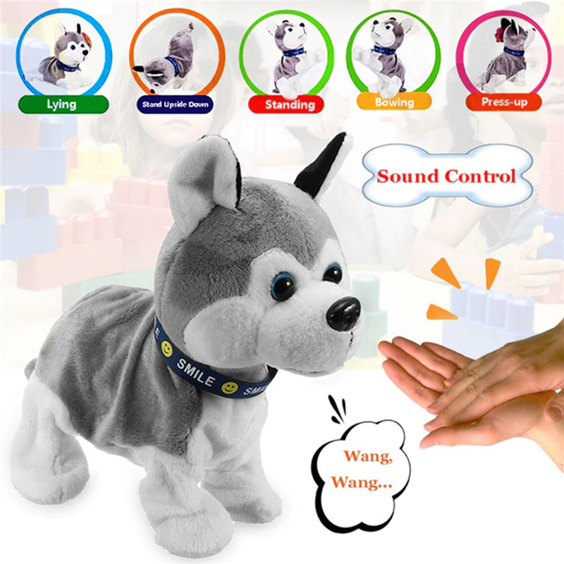 Electronic Robot Dog Kids Plush Toy Sound Control Interactive Bark Stand Walk 8 Movements Plush Kids Christmas Gift