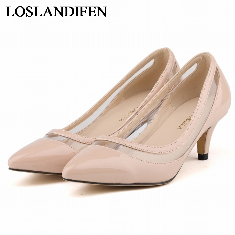2018 Plus Size 34-42 Women Pumps New Arrival Fashion Sexy Elegant Pointed Toe Med Heel Woman Shoes Red Beige Pink  NLK-A0152
