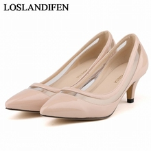 2018 Plus Size 34-42 Women Pumps New Arrival Fashion Sexy Elegant Pointed Toe Med Heel Woman Shoes Red Beige Pink  NLK-A0152 footwear plus shoe size 32 43 women pumps new fashion sexy elegant square toe med heel office lady woman shoes gold silver color
