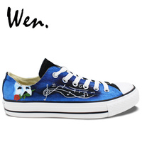 Wen Unisex Hand Painted Shoes Custom Design Phantom of the Opera Low Top Men Women's Blue Canvas Shoes Sneakers Birthday Gifts