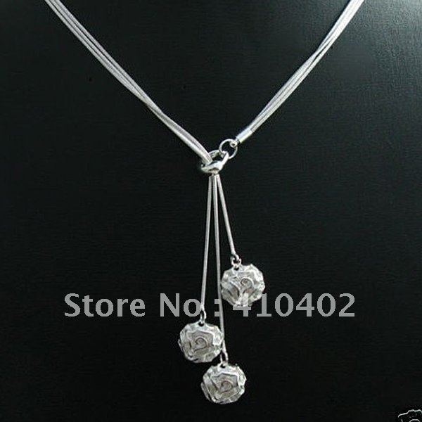 Fashion 925 Silver plated Jewelry 3Chain Flower Necklace For Women N049