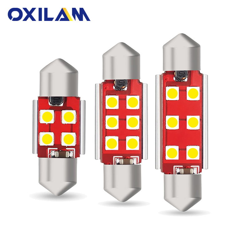 OXILAM 4Pcs Canbus C5W <font><b>LED</b></font> 3030 SMD Festoon 31mm 36mm 41mm <font><b>42mm</b></font> Dome Reading Light <font><b>Bulb</b></font> Car Interior lighting 12V 6000K White image