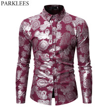 653bf2f0cf0c Mens Steampunk Impresso Camisas Casual Slim Fit Manga Comprida Ouro Paisley  Floral Chemise Homme Vermelho Moderno