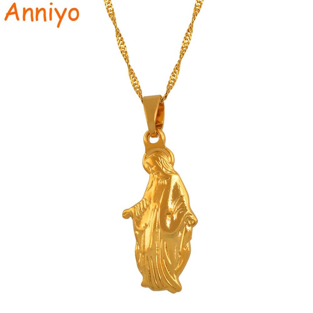 3577dfd45db0 Anniyo Madonna Virgen María COLLAR COLGANTE cadena Color oro diosa joyería católica  collares para mujeres catolicismo  025106