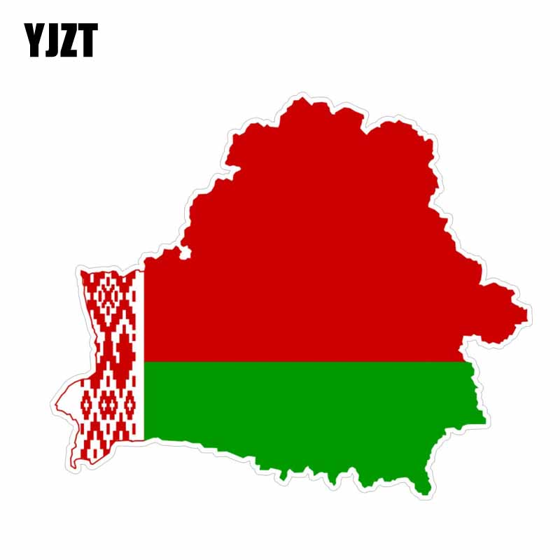 YJZT 13.9CM*11.6CM Car Styling Belarus Map Car Sticker Helmet Decal 6-0608