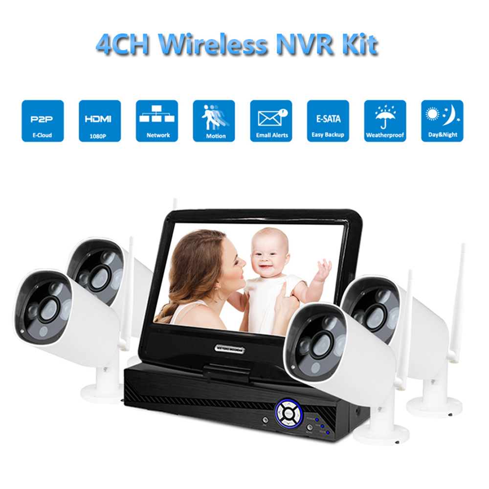 PUAroom 4CH IP Camera RoHS FCC CE approved H.264 onvif video dvr security surveillance cameras systems with 10inch LCD monitor