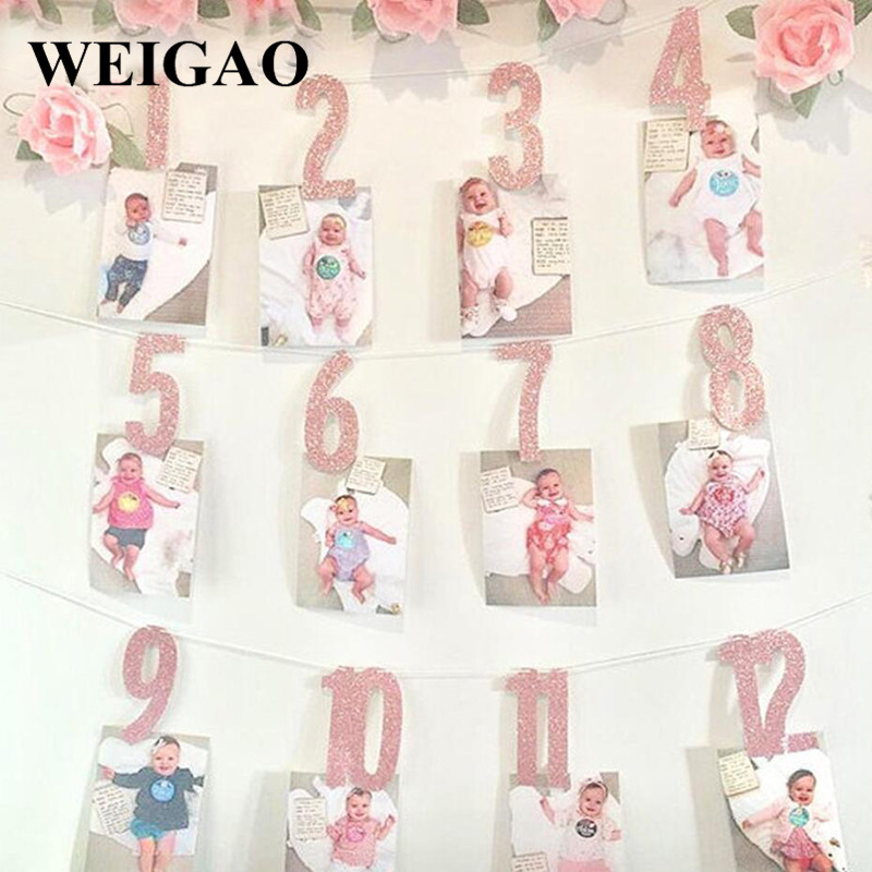 WEIGAO Baby 1st Birthday Photo Banner Star Heart Photo Garland with Clips Girl First Birthday 1 One Year Monthly Photo Props-in Party DIY Decorations from Home & Garden