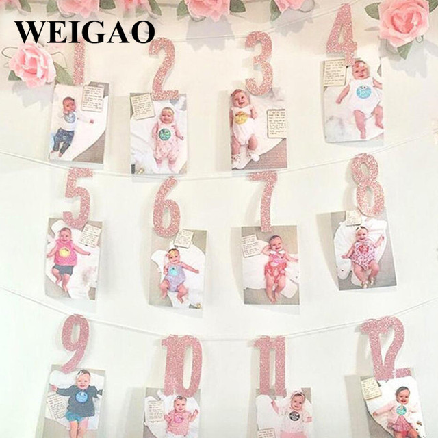 WEIGAO Baby 1st Birthday Photo Banner Star Heart Photo Garland with Clips Girl First Birthday 1 One Year Monthly Photo Props
