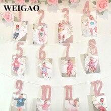 WEIGAO Baby 1st zdjęcie urodzinowe Banner gwiazda z sercem na zdjęcia Garland z klipsami dziewczyna pierwsze urodziny 1 rok comiesięczne zdjęcie rekwizyty